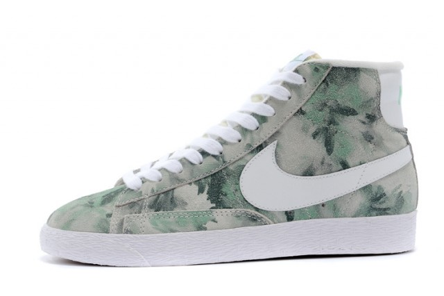 Deft Design Nike Blazer MID Light Gray Green Flower 658286 104 Womens High  Shoes  ShoesGaincom