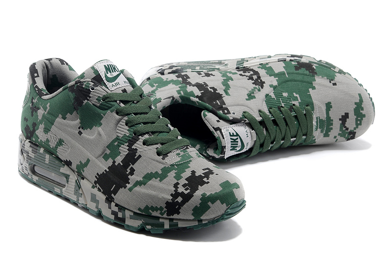best service e75a8 fb99d ... Famous Brand Nike Air Max 90 VT Green Light Gray Camouflage Couple Shoes  ...