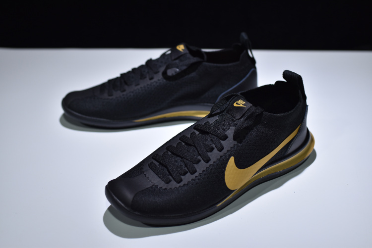 10bf728b7710 Wholesale Nike Cortez Flyknit Black Golden AA2029 003 Unisex Running Shoes  ...