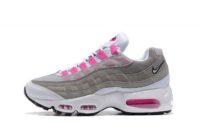 Durable Nike Wmns Air Max 95 Essential Grey Pink White Women's Running Shoes Sneakers DC005515