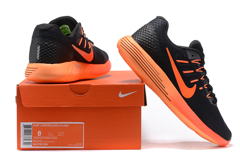 buy popular fe58f c1704 ... cheap nike lunarglide 8 flash black orange 843725 006 mens sport shoes  e04f1 2c13b
