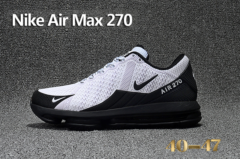 Of Quality Nike Air Max 270 White Black Men's Sport Running Shoes Sneakers  - ShoesGain.com