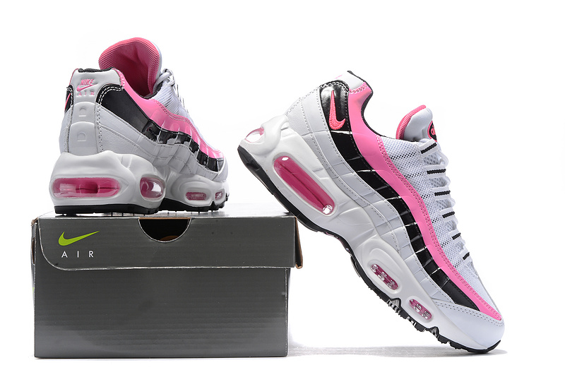66391d396a1 ... Reliable Quality Nike Air Max 95 White Pink Black Women s Running Shoes