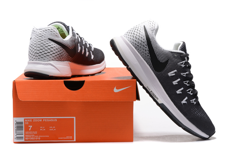 ... Top Quality Nike Air Zoom Pegasus 33 Black Grey White 831352 010 Men\u0027s Running  Shoes ...