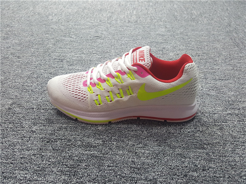 Nike Air Zoom Pegasus 33 White Red Pink Yellow Women's Sport Running Shoes