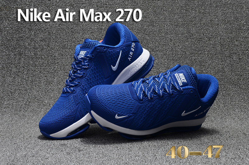 Impeccable Nike Air Max 270 Blue White Men s Sport Running Shoes Sneakers  ... 13f06766d