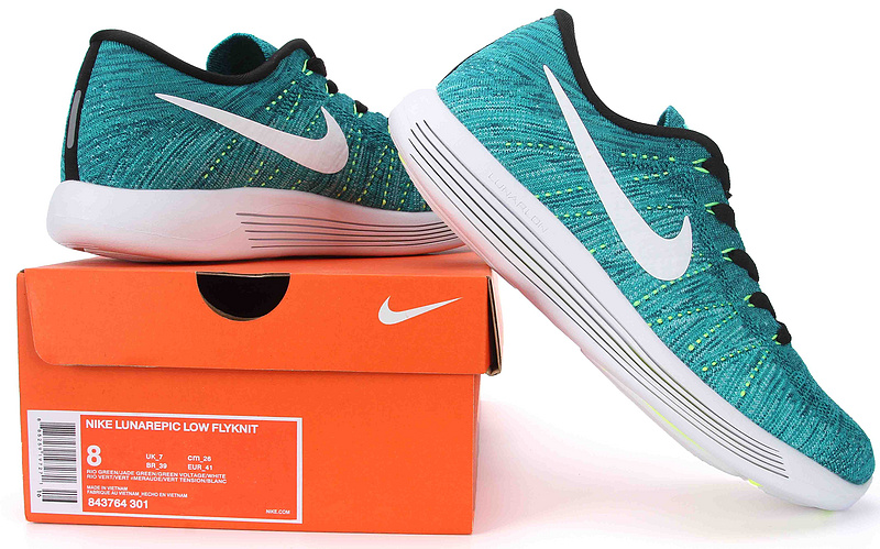 ... Superior Nike Lunarepic Low Flyknit Green White 843764 301 Men s  Running Shoes 9ec3addab099