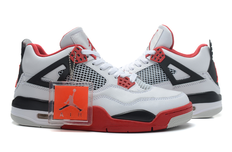 pretty nice 03f0c a07f5 ... Attractive Design Nike Air Jordan 4 Retro White Red Black 308497 110  Men s Basketball Shoes ...