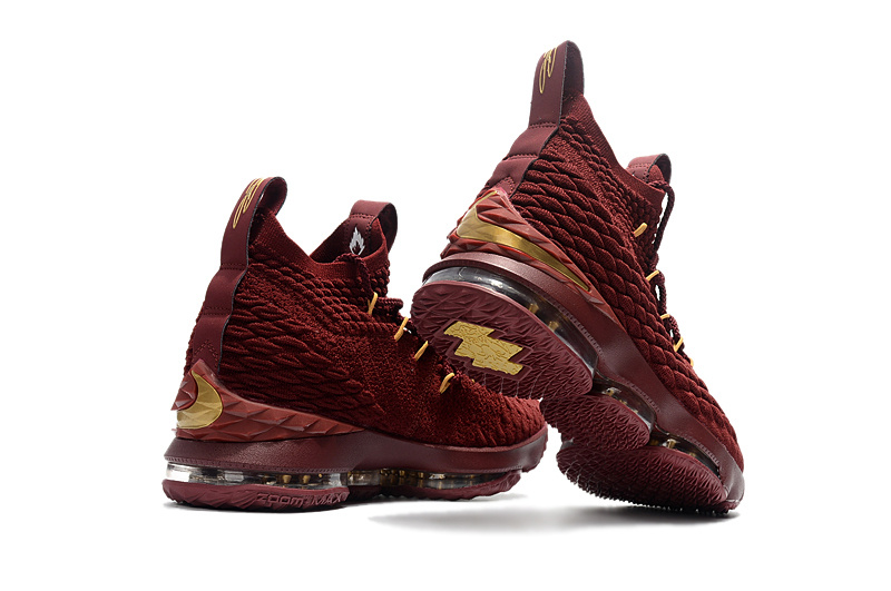... New Style Nike LeBron 15 XV Wine Red Gold Men's Basketball Shoes ...
