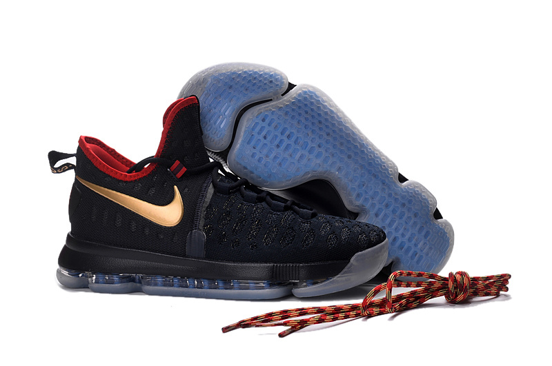 235789db845a ... Extravagant Nike Zoom KD 9 Black Gold Red Men s Basketball Shoes ...