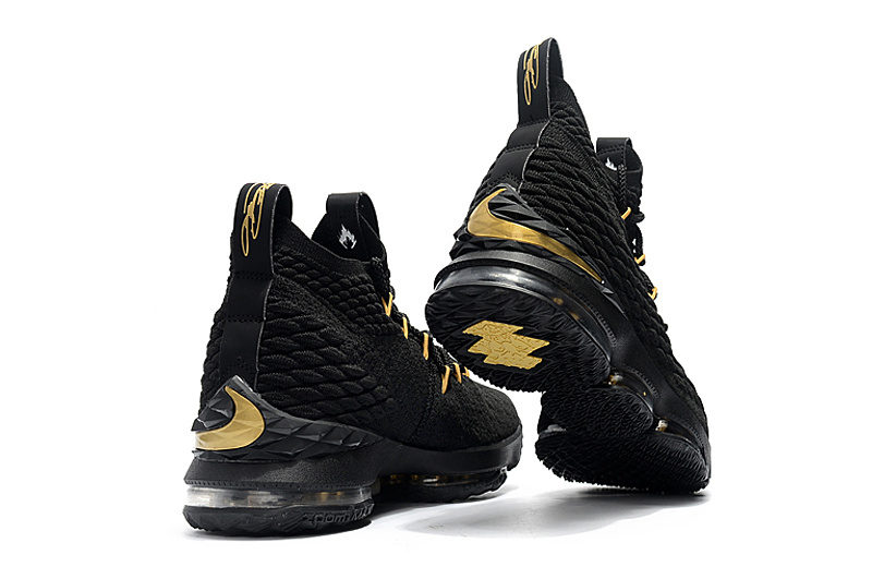 581e9eb6a8fb73 Nike LeBron 15 XV Black Gold Men s Basketball Shoes - ShoesGain.com