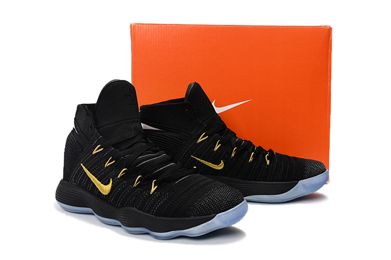 separation shoes 58dbe 90252 Contracted Nike Hyperdunk Flyknit 2017 Black Gold Mens Basketball Shoes .