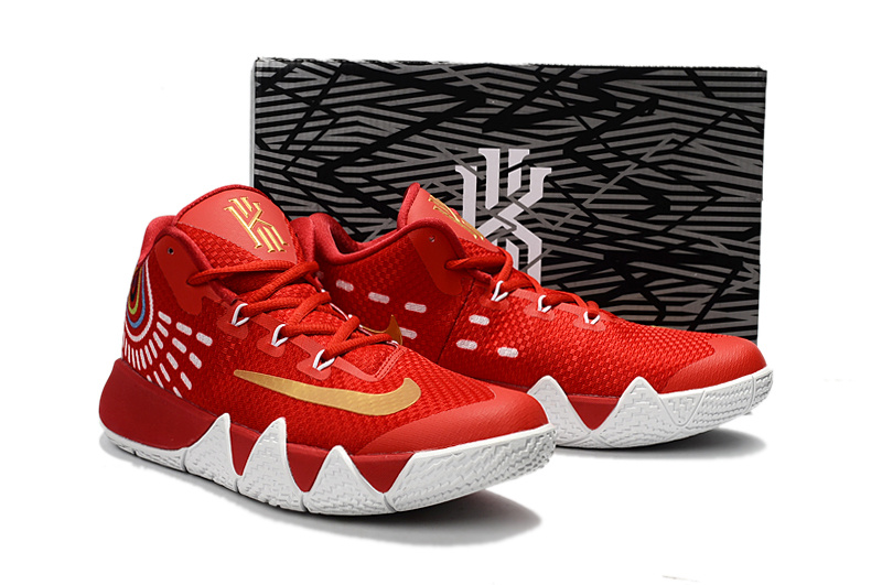 ... High Quality Nike Kyrie Lrving 4 Red White Gold Men's Basketball Shoes  ...