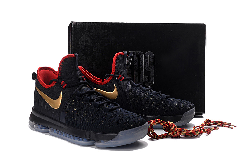 228d9f4e5541 ... Extravagant Nike Zoom KD 9 Black Gold Red Men s Basketball Shoes ...