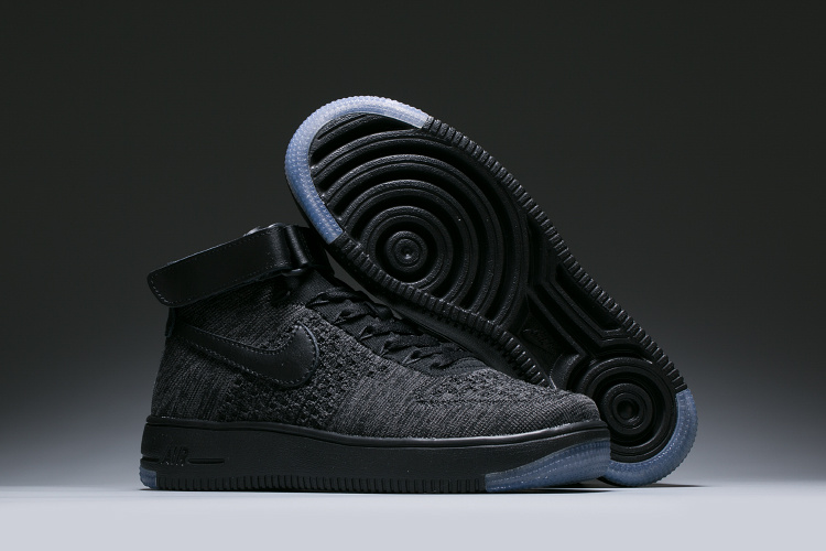 7473a36c85208 ... Nike Air Force 1 Flyknit Black Grey Unisex High Casual Shoes ...