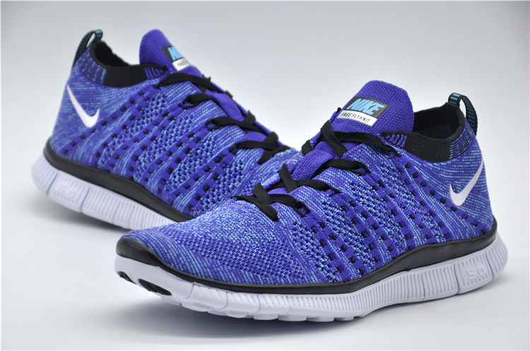 premium selection c5d81 925bc ... Impeccable Nike Free Running 5. 0 Flyknit Blue Black White Unisex  Training Shoes ...