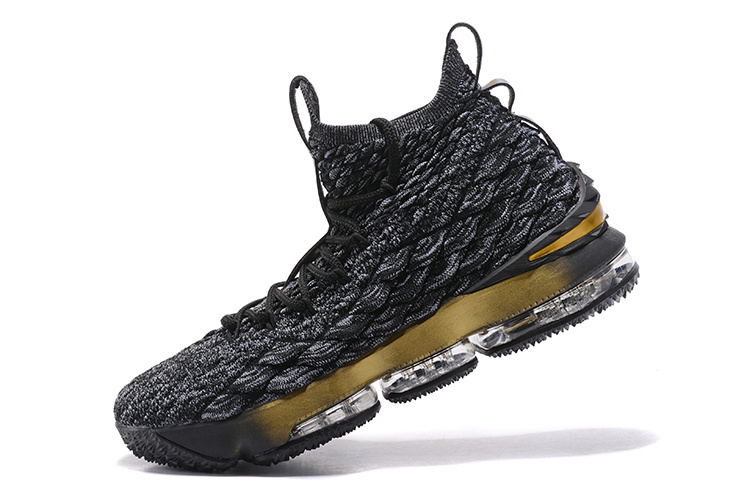promo code 8b377 aa49a James Basketball Shoes   Best Sell Nike LeBron 15 XV Black White Gold