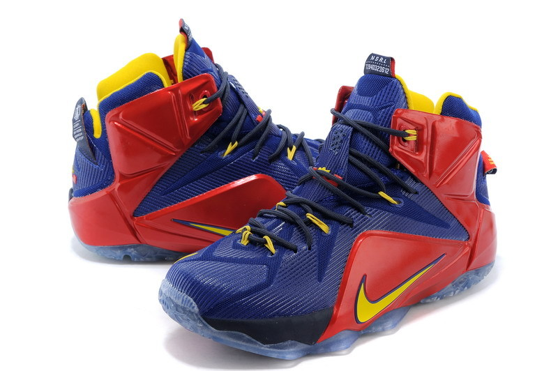 buy online 52eef 46284 Deft Design Nike LeBron XII EP Blue Red Yellow 684593 611 Men's Basketball  Shoes #684593-611