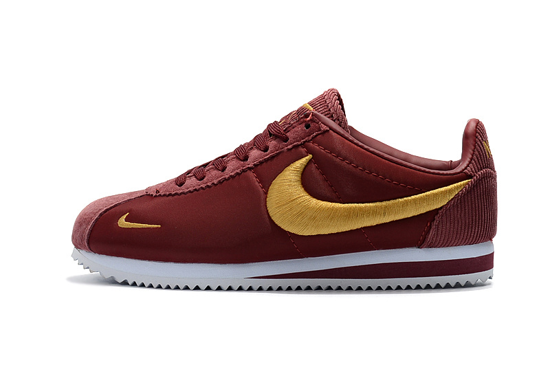 Good Production Line Nike Classic Cortez Nylon PRM Wine Red Gold White