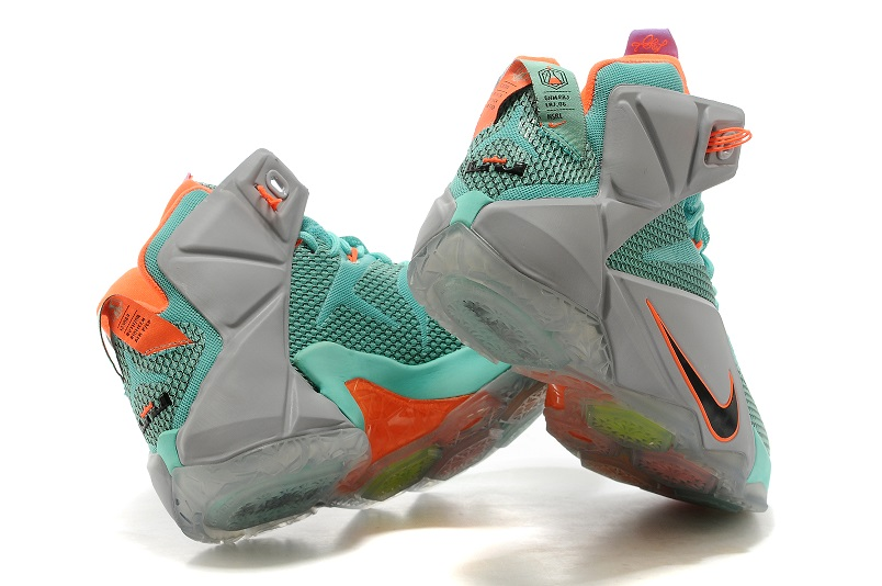 more photos e457f 2f310 ... Good Production Line Nike LeBron 12 P. S. Elite Grey Green Orange Black  684593 301 Men s Basketball ...
