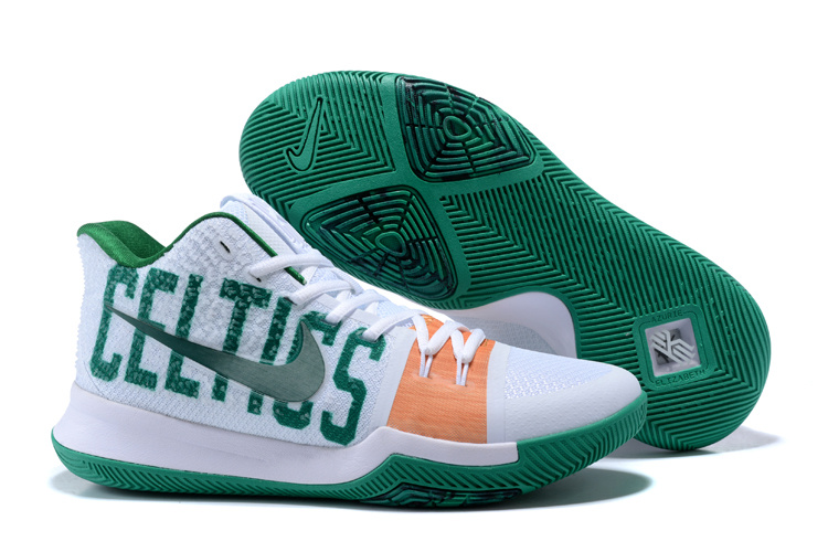 ... Good Production Line Nike Kyrie Lrving 3 White Green Men's Basketball  Shoes ...