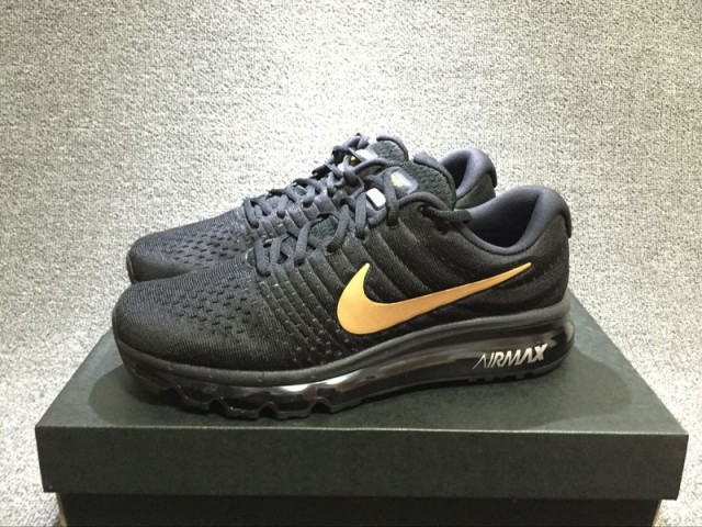new styles 1eda3 3722c ... Comfortable Nike Air Max 2017 Black Gold 918091 991 Mens Sport Running  Shoes