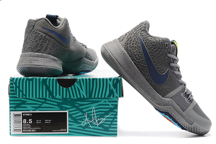 736a6262c5ed Deft Design Nike Kyrie 3 Grey Men s Basketball Shoes - ShoesGain.com