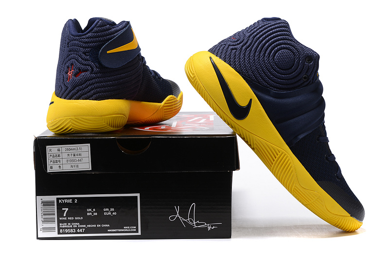 new product ac085 88b87 ... Comfortable Nike Kyrie 2 Xmas Blue Yellow Unisex Basketball Shoes