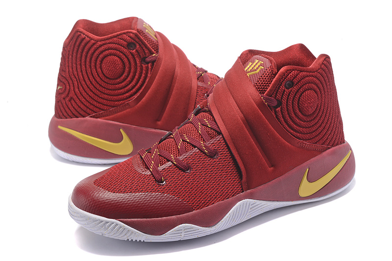 c795d9143819 ... New Pattern Nike Kyrie 2 Xmas Wine Red Gold Men s Basketball Shoes ...