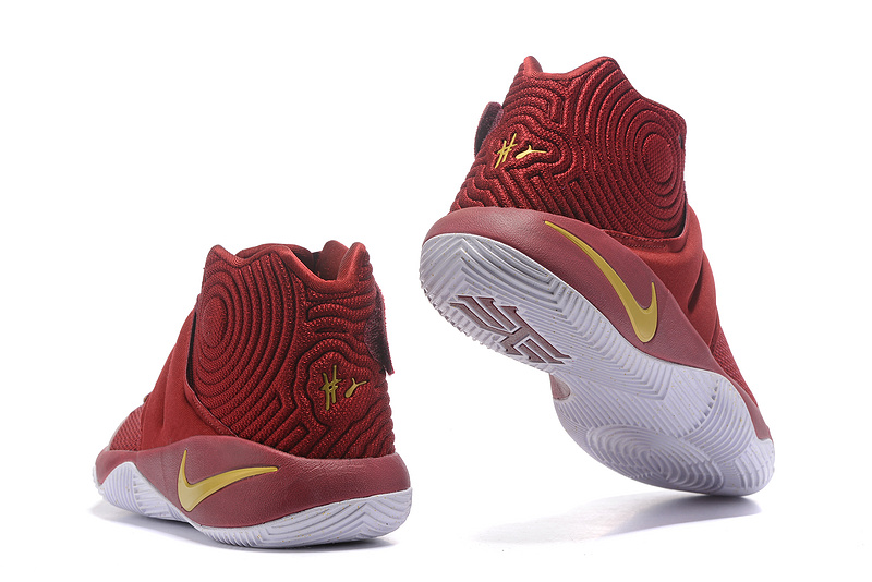 673c5551ac8f ... New Pattern Nike Kyrie 2 Xmas Wine Red Gold Men s Basketball Shoes ...