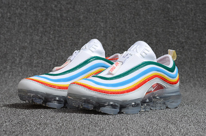 best authentic d0816 02531 Zero Defect Nike Air VaporMax 2018 97 White Green Blue Yellow Red Women s  Running Shoes ...
