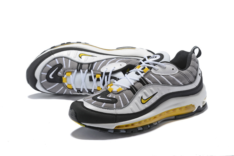 reputable site 346ff 537ec ... Sophisticated Technology Nike Air Max 98 Supreme Grey Black Gold 640744  105 Men's Running Shoes ...