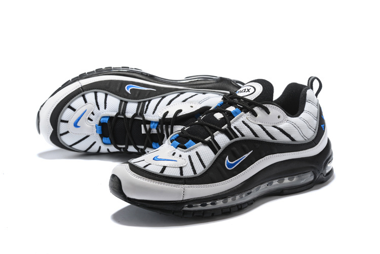 7efa722cfb ... New Style Nike Air Max 98 Supreme Black White Blue 640744 102 Men's  Running Shoes ...