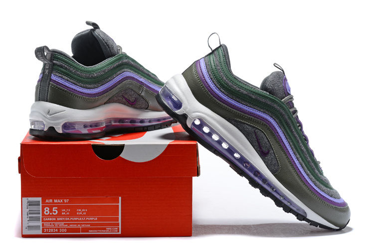 new product 14458 ace66 ... New Style Nike Air Max 97 Premium Army Green Purple Men s Running Shoes
