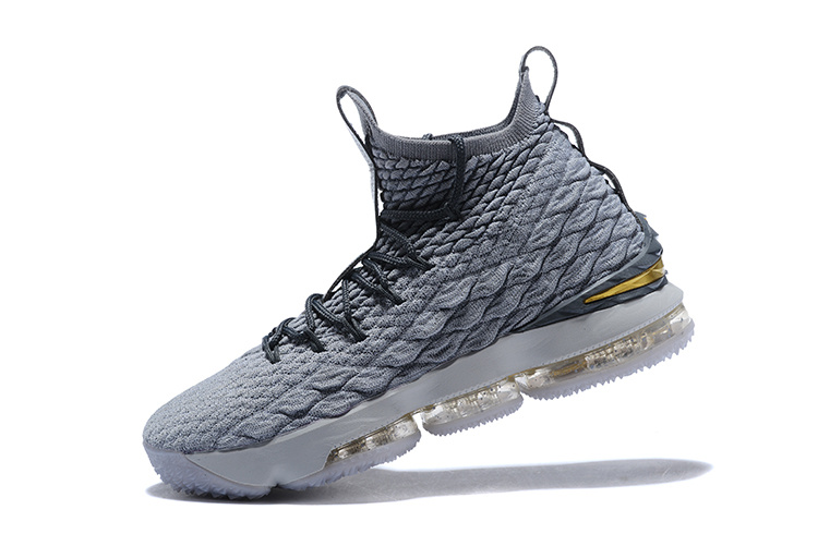 26ad2ddfecbd Of Quality Nike LeBron XV James 15 Gray Black Gold Men s Basketball ...
