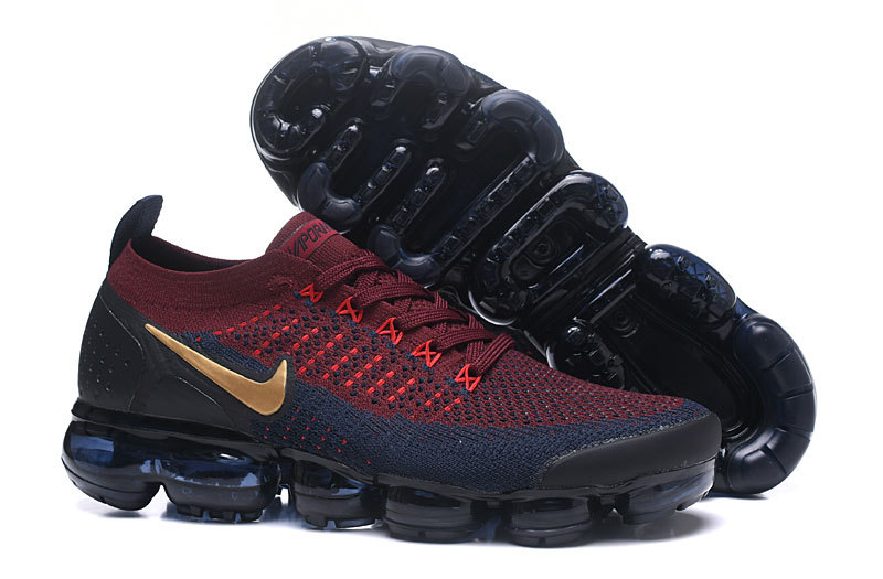 b5a83e0ec7 ... Nike Air VaporMax Flyknit 2 Dark Blue Wine Red 942842-601 Men's Sport  Running Shoes ...