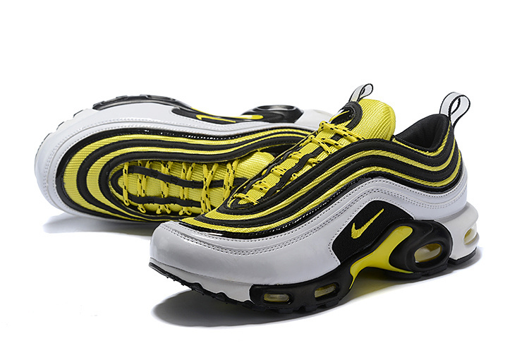 4c82b47cf4 ... Nike Air Max 97 Plus TN Yellow Black White AV7937 100 Unisex Running  Shoes ...