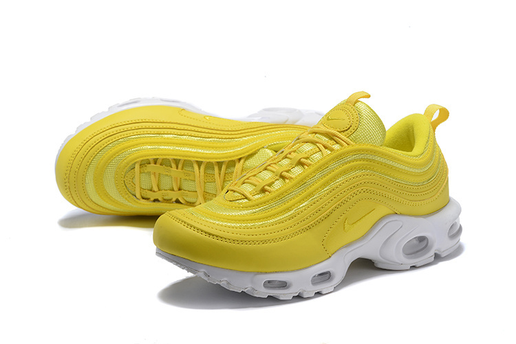 low priced 0e2f1 15e30 ... Deft Design Nike Air Max 97 Plus TN Yellow White Unisex Running Shoes  ...